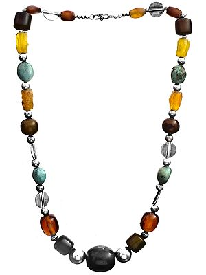 Gemstone Necklace (Carnelian, Smoky Quartz, Yellow Chalcedony, Turquoise and Onyx)