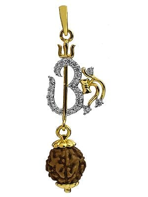 Rudraksha Pendant with OM, Trident and Shiva's Damaru