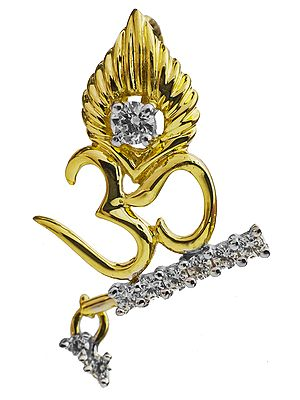 OM (AUM) Pendant with Krishna's Flute and Peacock Feather