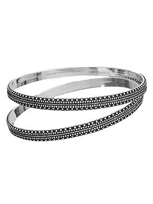 Sterling Bangle with Granulation Work (Price Per Pair)