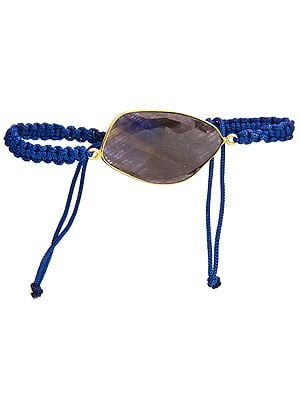 Faceted Iolite Gold Plated Cord Bracelet