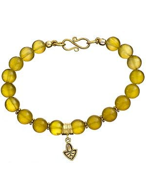 Yellow Chalcedony Gold Plated Bracelet