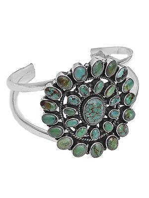 Sterling Cuff Bracelet with Gems