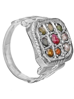 Navaratna Rectangular Finger Ring