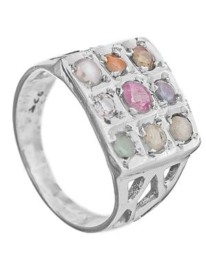 Navaratna Square-Shape Ring