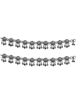 Sterling Silver Anklets With Ruby And Cubic Zirconia Drops