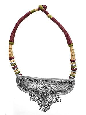 Triple Hued Ethnic Cord Necklace with Large Designer Pendant