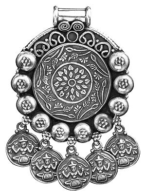 Sterling Flower Pendant with Goddess Lakshmi Charms