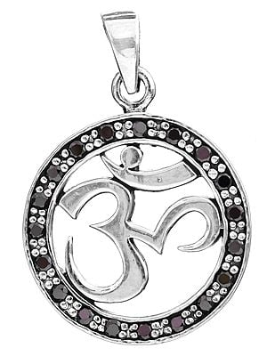 Sterling OM (AUM) Pendant with Faceted Gems