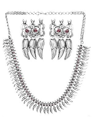 Flower Buds Necklace with Earrings Set (South Indian Temple Jewelry)
