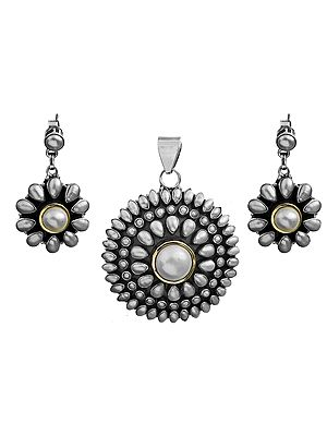 Pearl Sunflower Pendant -Sterling Silver