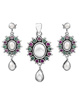 Gemstone Pendant with Earrings Set (Pearl, Green Onyx and Ruby)