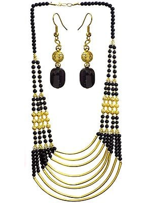 Golden Black Eight Strand Beaded Necklace with Earrings Set
