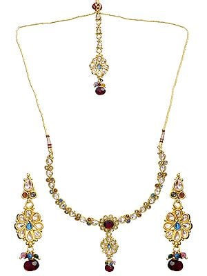 Multi-Color Necklace Set with Mang Tika