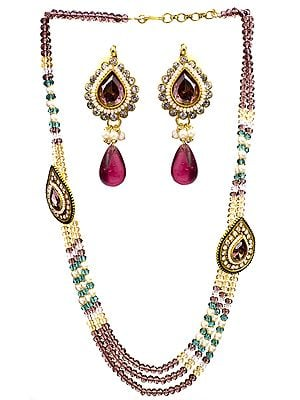 Pink Cut Glass Victorian Neckalce with Earrings Set