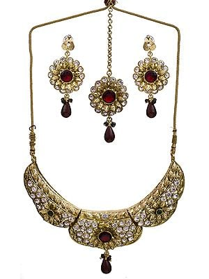 Maroon Green Bridal Polki Necklace Set with Mang Tika
