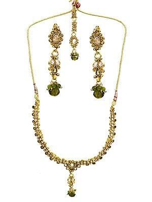 Green Polki Necklace Set with Mang Tika