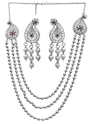 Paisley Necklace Set with Filigree (South Indian Temple Jewelry)