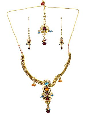 Designer Polki Necklace Set with Mang Tika