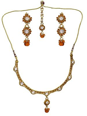 Orange Cut Glass Polki Necklace with Earring and Tika Set