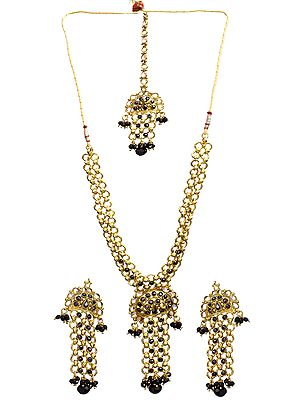 Black Linked Polki Necklace Set with Mang Tika