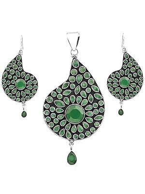 Faceted Green Onyx Pendant with Earrings Set