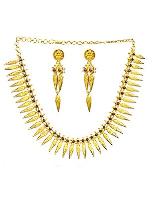 Marriage Necklace Known as Thali with Earrings (South Indian Temple Jewelry)