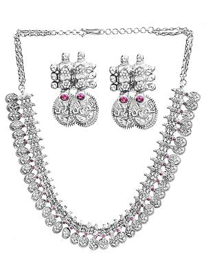 Lord Ganesha Necklace with Matching Earrings Set (South Indian Temple Jewelry)