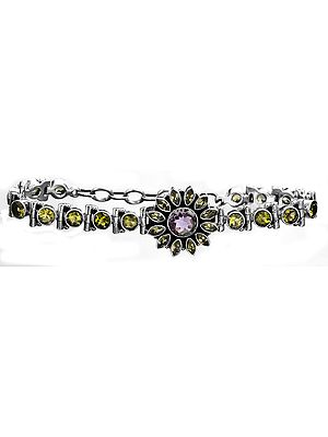 Faceted Peridot and Amethyst Bracelet Central Flower