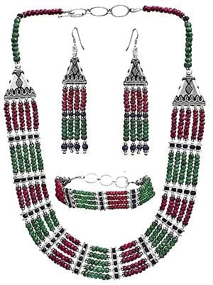 Faceted Gemstone Necklace with Matching Earrings and Bracelet Set (Ruby, Emerald and Sapphire)