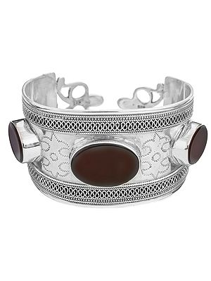 Carnelian Cuff Bracelet with Filigree