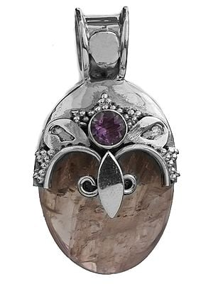Rose Quartz Pendant with Amethyst