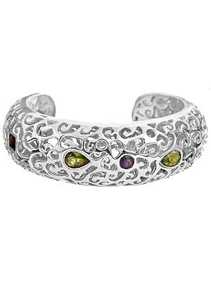Faceted Gemstone Cuff Bracelet (Peridot, Garnet and Amethyst)