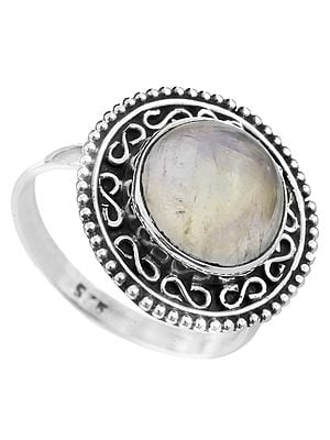 Rainbow Moonstone Ring with Filigree