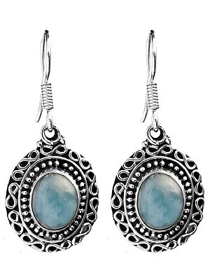 Larimar Earrings with Filigree