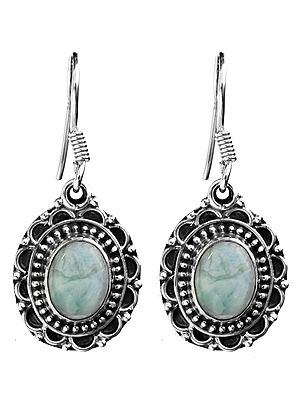 Larimar Oval Earrings with Filigree