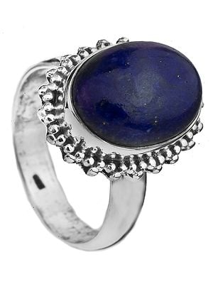 Lapis Lazuli Oval Ring with Granulation