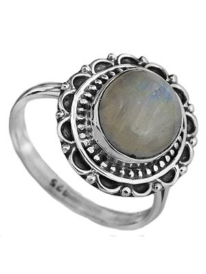 Rainbow Moonstone Oval Ring with Filigree