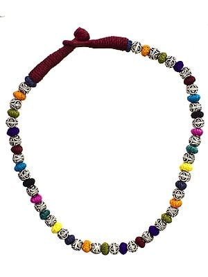 Multi-Color Cord Necklace with Sterling Beads