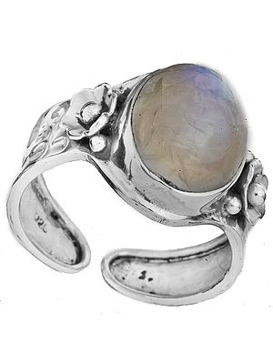 Rainbow Moonstone Ring with Flowers