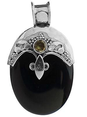 Black Onyx Pendant with Citrine
