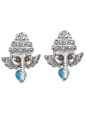 Lord Ganesha Post Earrings with Marcasite and Gems