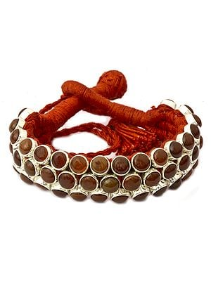 Handcrafted Cord Bracelet with Gemstone