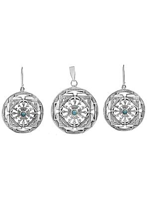 Mandala Pendant and Matching Earrings Set with  Turquoise