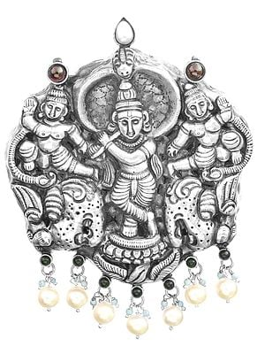Krishna And Sakhas Pendant, South Indian Temple Jewellery (Multi-Gemstone)
