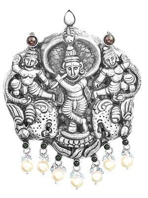 Krishna And Sakhas Pendant, South Indian Temple Jewellery (Multi-Gemstone)
