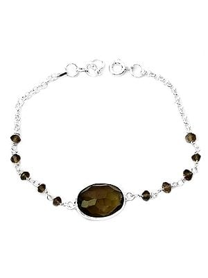 Smoky Quartz Beaded Bracelet with Gems