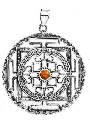 Mandala Pendant with Coral