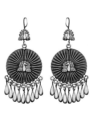 Twin Peacock Earrings with Dangles
