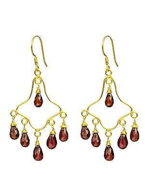 Faceted Garnet Chandelier Earrings